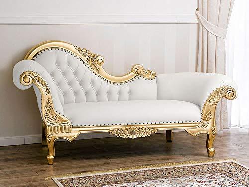 SIMONE GUARRACINO LUXURY DESIGN Recamiere Französischer Barock Stil Chaiselongue-Sofa Blattgold Kunstleder weiß Crystal Sw Knöpfe