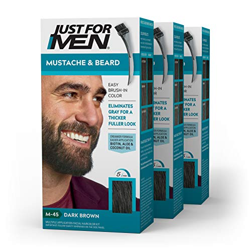 Just For Men - Tinte de barba y bigote para hombre, color negro marrón (M45),pack de 3 unidades