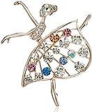 FOPUYTQABG Broche Broche Chica de Baile Ballet Chica de Baile Exquisito Broche Pop Mujer Gimnasia rítmica Moda clásica Dama Exquisita decoración Pop Cristal Brillante