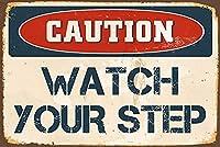 注意あなたのステップを見てください家にぶら下がっているアートワークプラークのためのヴィンテージレトロメタルティンサイン屋外リビングヤードサインストリートパブリックサインカントリーファームフェンスガーデンハウスサインギフト8X12インチ メタルプレートブリキ 看板 2枚セットアンティークレトロ