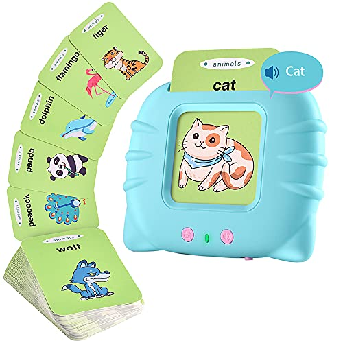 IMRARA Audible Flash Cards with Sound Effects, 56 pcs Sight Words Electronic Educational Learning Toys for Toddlers 2-4 Years, Preschool Learning Toys with Reading Repeating Function (Green)