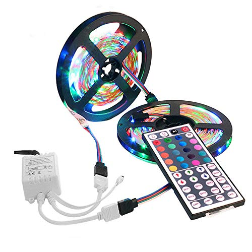 Kiorc LED Strip Light String Tape 10M 3528 SMD RGB 600 LED Strips with 44 Key IR Remote Control and 12V Power Supply for Room, Bedroom, TV, Kitchen, Desk