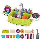 19 pcs Fregadero Electrónico de Cocina Conjunto de Juguete para Lavar Platos Accesorio de Cocinita Infantil Juegos de Imitación para Niños y Niñas, Grifo de Agua