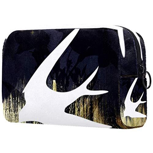 Trousse de toilette portable pour femme avec brosses de maquillage personnalisées, sac à main, organiseur de voyage blanc