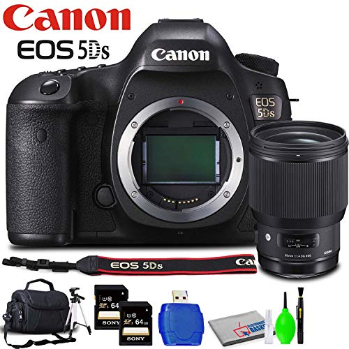 Canon eos 5ds dslr camera (body only) accessory bundle with sigma 85mm f/1. 4 lens, memory card kit, carrying case, tripod, lcd screen protector and cleaning kit