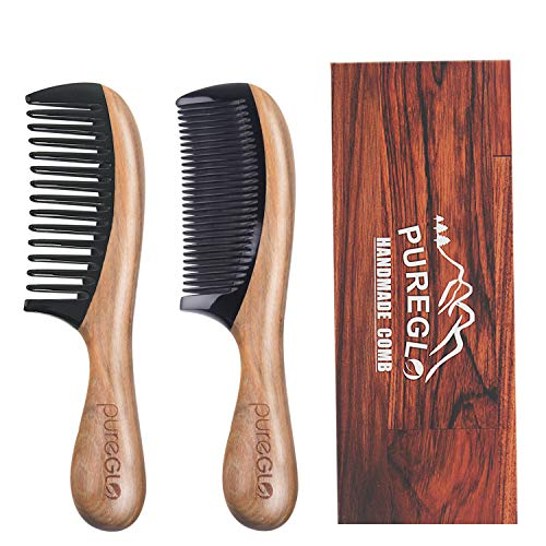 Wooden Hair Combs [Gift Box] – pureGLO Anti-Static Detangling Comb Set for Men Women Kids - Fine and Wide Tooth Combs for Straight Curly Wavy Dry Wet Thick or Fine Hair
