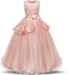 GFDGG 女の子のページェントドレスキッズウエディングボールガウンノースリーブ刺繍プリンセスコスチュームプリンセスドレス (色 : Champagne, サイズ : 160cm)