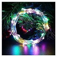 ストリングライト 2M 5M 10M LEDストリングライトのバッテリーはスリヴァーワイヤー妖精はライトクリスマスライト屋外チェーンウェディングPatryインテリアをガーランド運営しました (Emitting Color : RGB, Wattage : 5m 50leds)