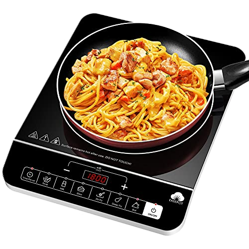 Portable Induction Cooktop Easepot Countertop Induction Burner Electric Induction cooker Induction Hot Plate 1800W with Preset 6 Modes 10 Power Levels/Kids Safety Lock/Timer/LED Sensor Touch