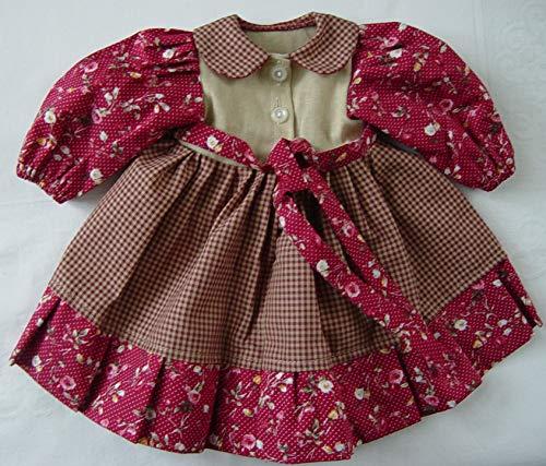 Puppenmode Sturm 1321-3 Kleid im Landhausstil für Puppen, Mehrfarbig