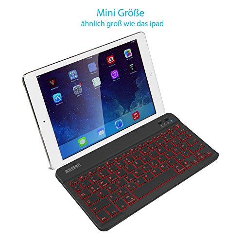 Arteck Bluethooth Tastatur, QWERTZ Deutsche Wireless Tastatur mit 7 Farben Ultraleicht und dünn Tragbare Kabellose Tastatur, für iPad Pro, Air, Mini, Android, MacOS, Windows, Tablets, PC, Smartphone