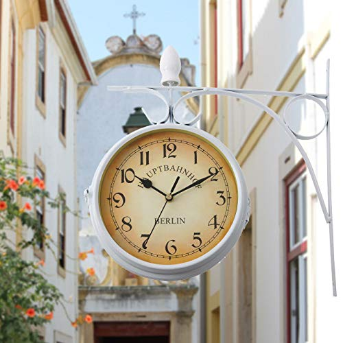 Samger Samger Reloj de Doble Cara Jardín Tren Estación Reloj de Pared con Soporte (Blanco)