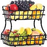Cuenco multifuncional de metal para frutas y frutas, 2 niveles desmontable, para cocina, para frutas, pan, verduras, aperitivos, color negro