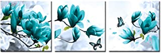 Welmeco Teal Flowers Canvas Wall Art Magnolia Floral Painting Picture Prints for Modern Home Office Living Room Bedroom Wall Decortion (12x12x3)