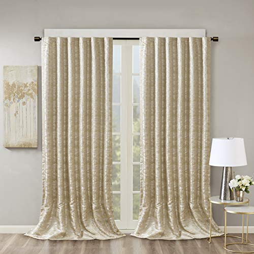 SUN SMART Cassius Jacquard Blackout Curtains for Bedroom, Luxury Gold Window Living Family-Room Kitchen, Rod Pocket, 1-Panel Pack, 50x108