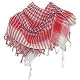 Pañuelo palestino rojo-blanco a cuadros 100x100cm algodón árabe Palestina fular chal accesorio