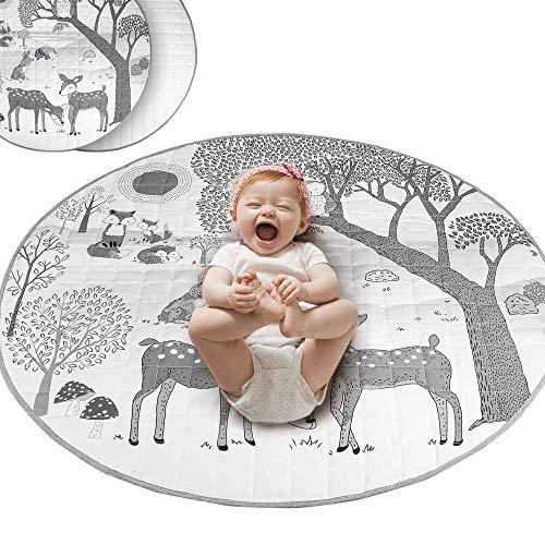 Yuyanshop Manta de algodón para bebé para gatear, para actividades y gimnasia, alfombrilla redonda para bebé, para sala de estar, dormitorio, decoración al aire libre, 33.5 pulgadas