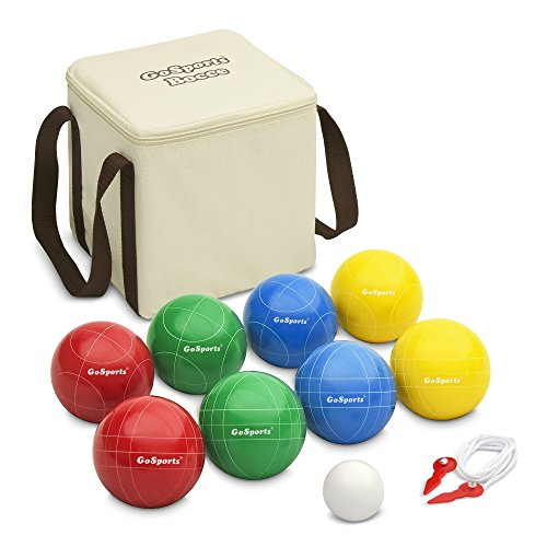 GoSports 90mm Backyard Bocce Set with 8 Balls, Pallino, Case and Measuring Rope