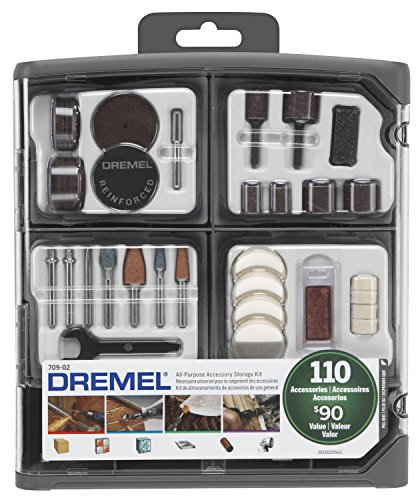 Dremel 709-02 110-Piece All-Purpose Rotary Tool Accessory Kit- Includes a Carving Bit, Sanding Drums, Grinding Stones, Cutting Discs, and a Storage Case , Gray