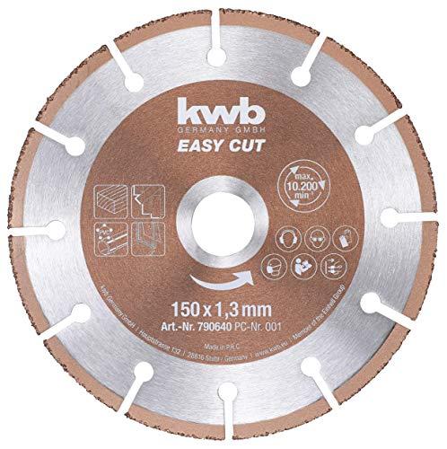 kwb 790640 Easy-Cut universal Hartmetall Trennscheibe 150 mm x 1,3 mm, Flex-Scheibe f. div. Materialien, Bohrung 22,23 mm, 150mm