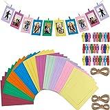 Fashion HW 30 cornici portafoto in cartone, da appendere, 10 x 15 cm, fai da te in carta Kraft, decorazione da parete con 30 clip e 3 pezzi di corda di canapa (Colorful)