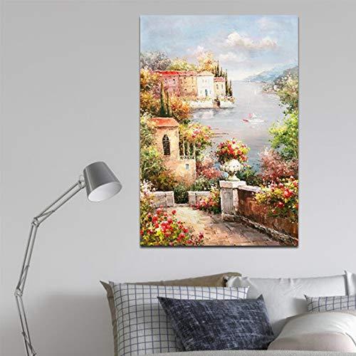 Geiqianjiumai Tuinstad en rivier landschap muur kunstdruk aquarel canvas schilderij poster kunst woonkamer decoratie zonder frame