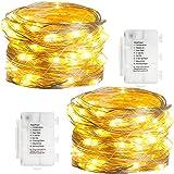 KooPower 2stk 50er LED Lichterkette,Batterie Lichterketten Außen,Silberdraht Lichterkette 8 Modi, Timer-Program,IP65 Wasserdicht für...