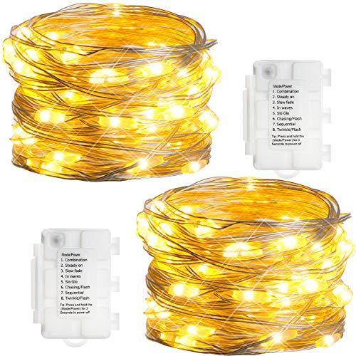 KooPower 2stk 50er LED Lichterkette,Batterie Lichterketten Außen,Silberdraht Lichterkette 8 Modi, Timer-Program,IP65 Wasserdicht für Outdoor,Garten,Weihnacht.(Warmweiß)
