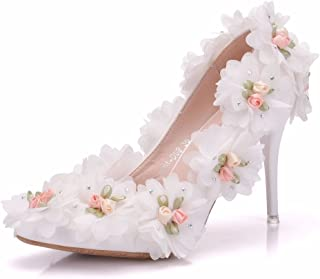Women's Bridal Shoes,9 cm Slim white flowers shallow mouth pointed shoes Wedding shoes Women's Court Shoes,Business Evening Prom Club Wedding Party Dress Bridesmaid shoes,39 EU