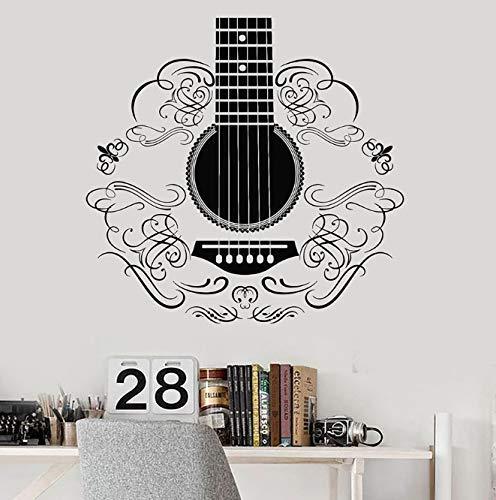 Art Afbeelding Muur Sticker Muziek Gitaar Muziekinstrument Patroon Vinyl Venster Sticker Gitaren Studio Klas Interieur 57X59 Cm
