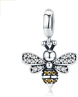 Bee Charm Honeycomb Honeybee Bracelet Beads 925 Sterling Silver AAA Cubic Zirconia Pendant Yellow Charms for Jewelry Makin...
