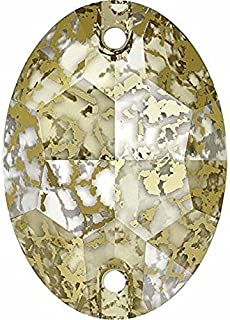 3210 Swarovski Sew On Crystals Oval Flat   Crystal Gold Patina   16mm - Pack of 72 (Wholesale)   Small & Wholesale Packs