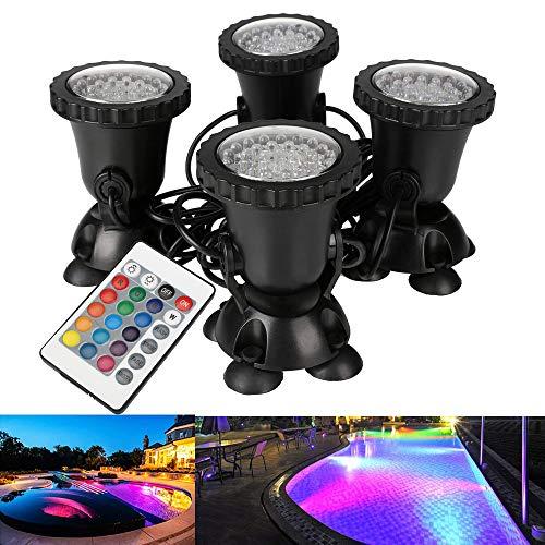 DOCEAN Aquarium Spotlicht Unterwasserleuchte RGB LED Aquarien Licht Lampe für Fisch Tank innen Pool innen Brunnen 4 Stücke Aquarien Beleuchtung in 1 Set Deko Mit 24 Tasten Fernbedienung