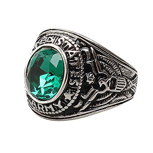 Amesii, anello da donna o uomo, stile punk, in titanio, acciaio e strass e Lega, 17, colore: Green, cod. AME