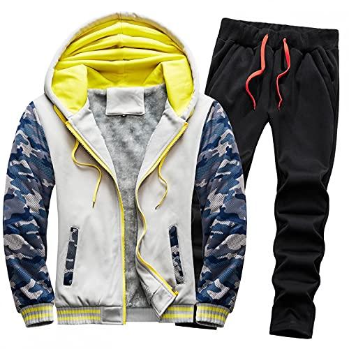 URIBAKY - Disfraz de camuflaje para hombre, talla grande, chaqueta de cazadora gruesa, ms gruesa, ms terciopelo, gris, XXXL