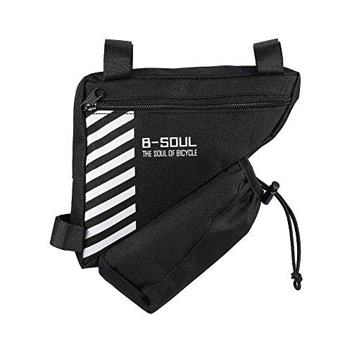 Borsa triangolare, borsa di stoccaggio da 1,5 litri Accessori per biciclette con telaio a sella triangolare di grande capacità per bici da sport(nero)