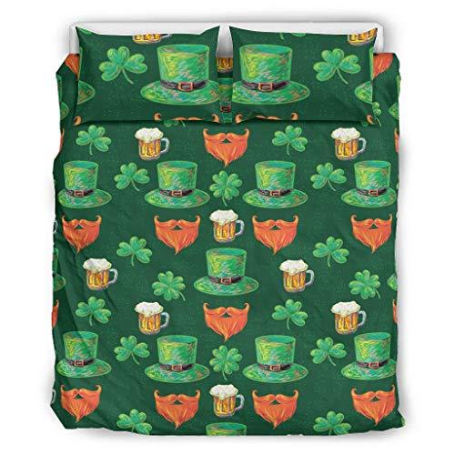 DOGCATPIG Ropa de cama para todas las estaciones del día de San Patricio, oversizedReversible elegante colcha para colegas blanco 66 x 90 pulgadas