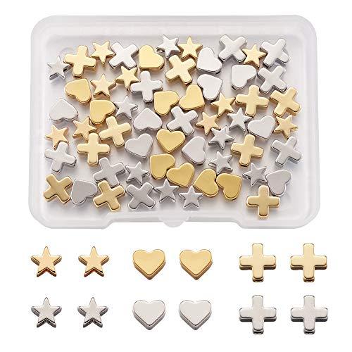 Cheriswely, 60 ciondoli distanziatori a forma di cuore, con stella, in platino e oro, per gioielli, bracciali, artigianato, foro: 1,2-2 mm