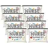 8 Pieces Nurse Survival Kit Makeup Bags, Best Nurse Ever Cosmetic Bag, Nurse Practitioner Gifts Toiletry Bag, Funny Travel Bag Nurses School Supplies Gifts Nursing Student Gifts (Nurse Survival Kit)