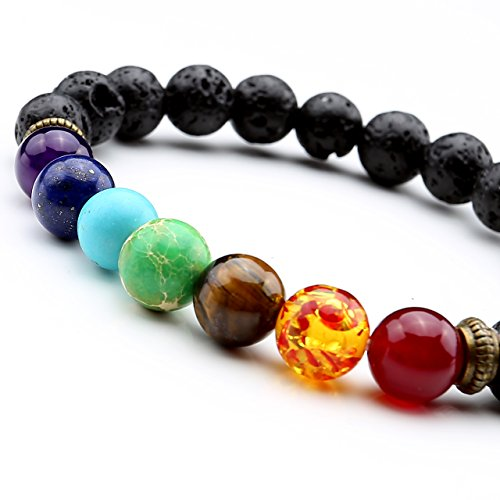 Top Plaza Men,Women 8mm Lava Rock Beads Chakra Bracelet Black Healing Energy Stone Gemstone Bracelet (Lava Chakra Bracelet)