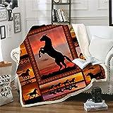 Horse Blanket Animal Print Throw Blanket Comfort Warmth Soft Cozy Blanket Fleece Blanket Couch Blanket Bed Throw TV Blanket Horse Lovers Gifts (59'x79'(150x200cm))