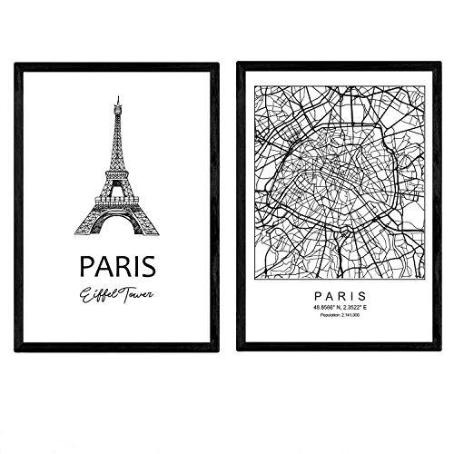 Pack de posters de Paris - Torre Eiffel. Láminas con monumentos de ciudades. Tamaño A3