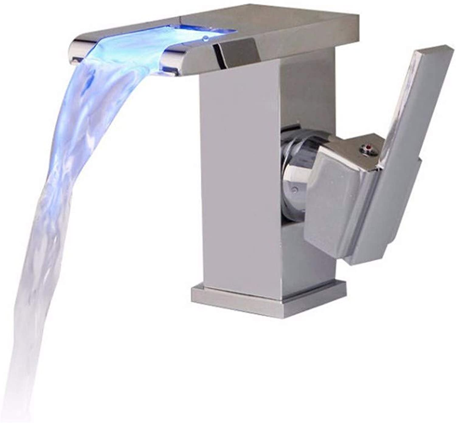 Chongxlgy-1 Basin Faucet All Copper Hot and Cold Black Continental Retro Waterfall with Light Basin, Low
