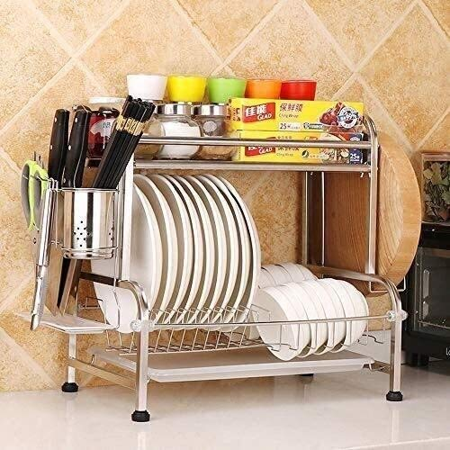 HSWJ Utensilios de Cocina Estante for Platos de Drenaje Rack Rack casa Cocina condimento Rack condimento Botella de Almacenamiento en Rack de Cortar con Cuchillo Junta Titular de Acero Inoxidable