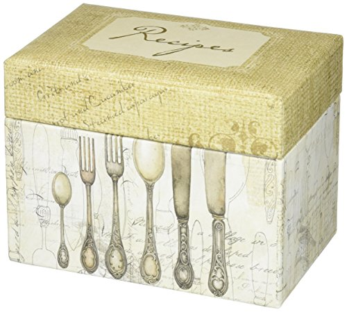 C.R. Gibson Rustic Recipe Box with Tab Dividers and Coordinating Recipe Cards, 53pc, 6.5 W x 4.75 H x 4.25 D