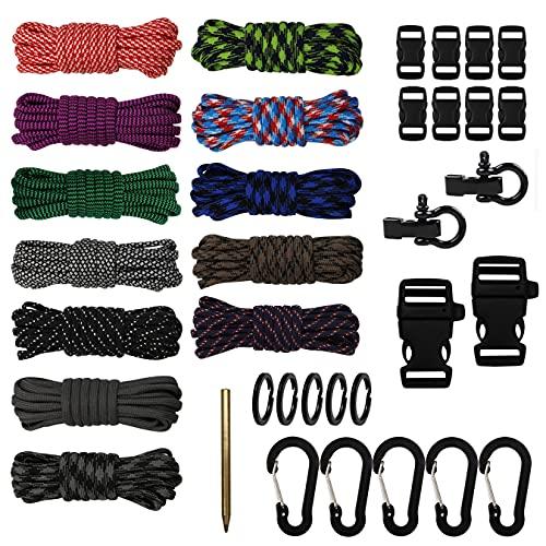 aufodara Paracord - Kit per artigianato in paracord, 12 colori, con chiusura a scatto, moschettoni, aghi da cucito e anello portachiavi, per braccialetti fai da te e corda per tenda (Bunt -A)