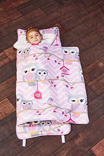 Everyday Kids alfombrilla para siesta con almohada extraíble para niños, se enrolla y cierra con correas de velcro, con asa de transporte, microfibra suave, para preescolar, guardería, saco de dormir para guardería