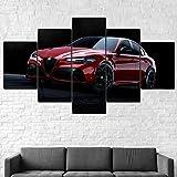 Cuadros Decoracion Salon De La Pared Coche GTA 2020 5 Paneles Decoración para El Hogar Mural Pintura Moderna Arte Carteles Paisaje Sala De Estar con Marco(200x100cm)