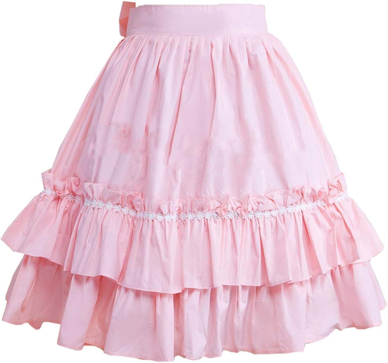 Antaina Pink Ruffled Layered Bow Sweet Cotton Princess Lolita Tutu Skirts
