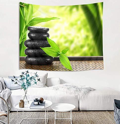 Zen Tapiz Japonés Piedras de Spa en Bosque de Bambú Verde Colgante de Pared Tapices de Yoga para Dormitorio Salón Dormitorio Decoración de Pared Fondo de Fiesta 203 x 152 cm